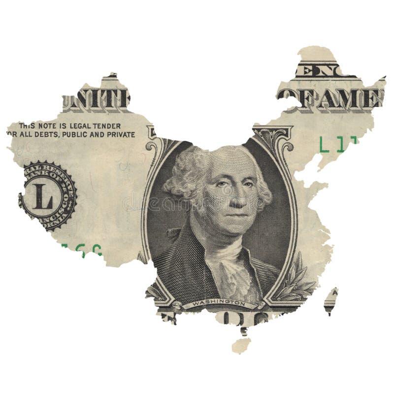 中国的地图美金的 库存图片
