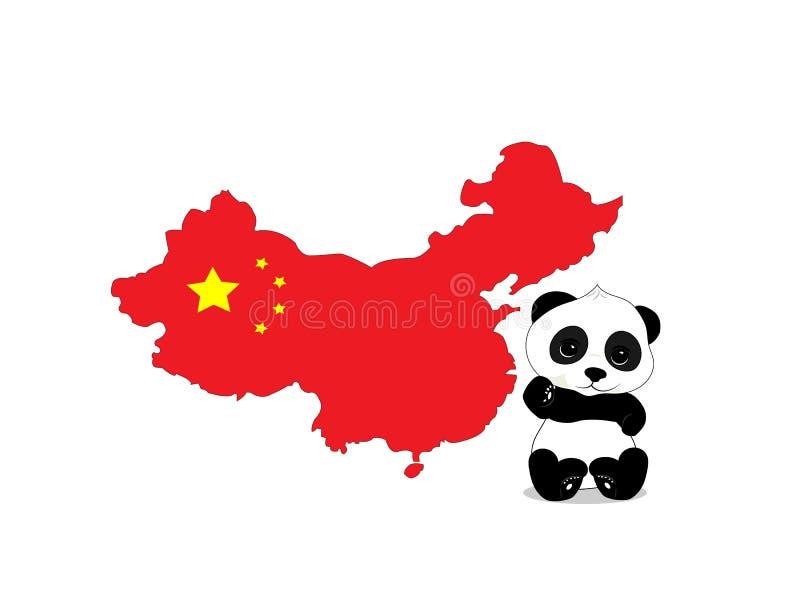 中国的熊猫和地图 库存例证