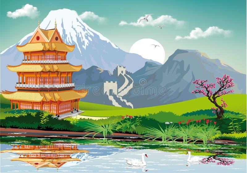 中国的现实风景 传统东方样式的中国塔在湖 库存例证