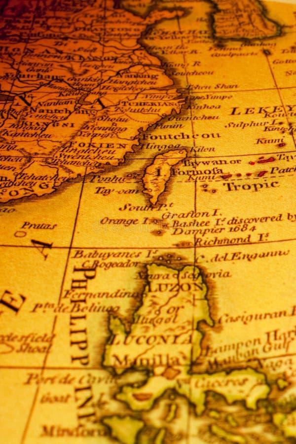 中国的老地图台湾福摩萨海岸 库存照片
