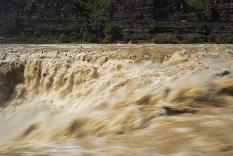 中国的黄河雨果瀑布, 免版税库存照片