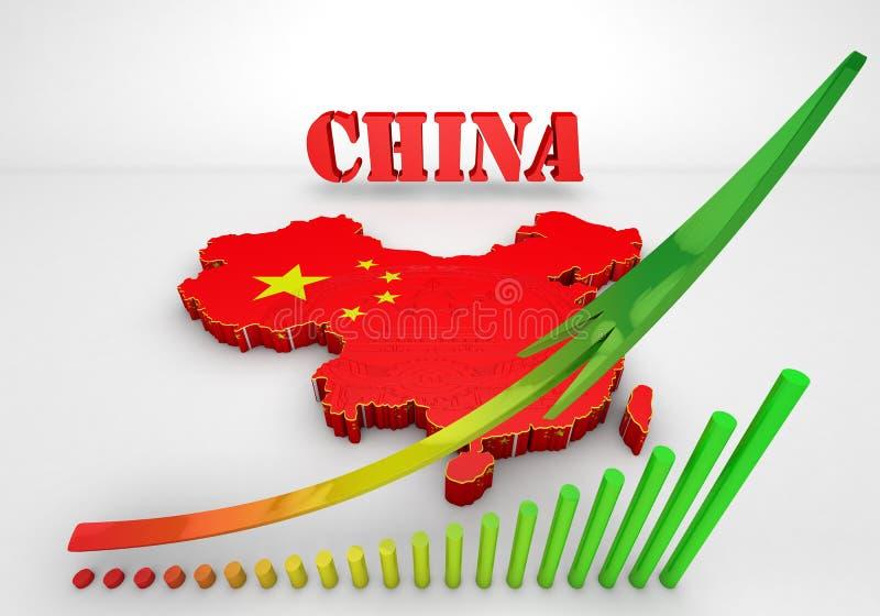 中国的Illustratuin地图 免版税库存照片