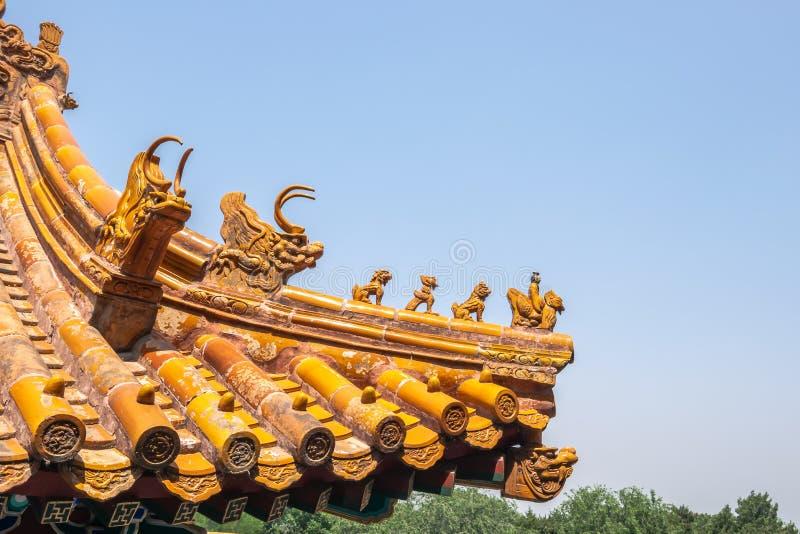 中国皇家屋顶装饰,从紫禁城大厦的屋顶在北京,中国 免版税库存图片