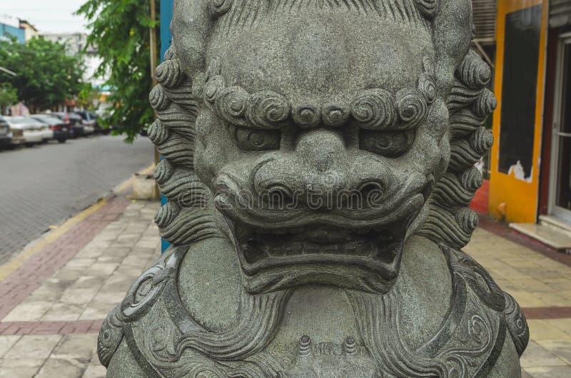 中国皇家狮子在圣多明哥多米尼加共和国中国区  免版税库存照片