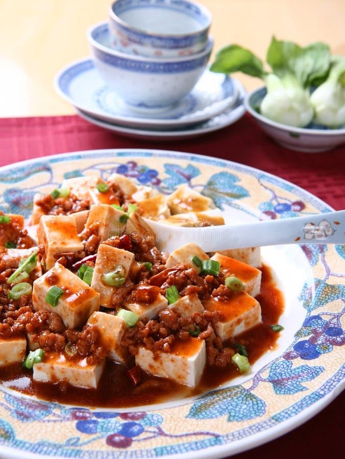 中国盘mapo普遍的辣豆腐 免版税库存图片