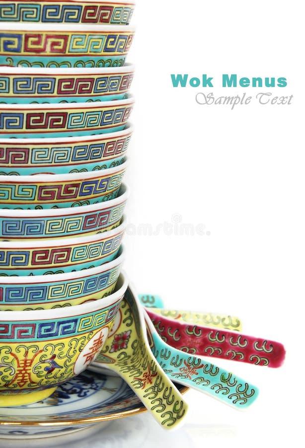 中国碗和匙子 免版税库存图片