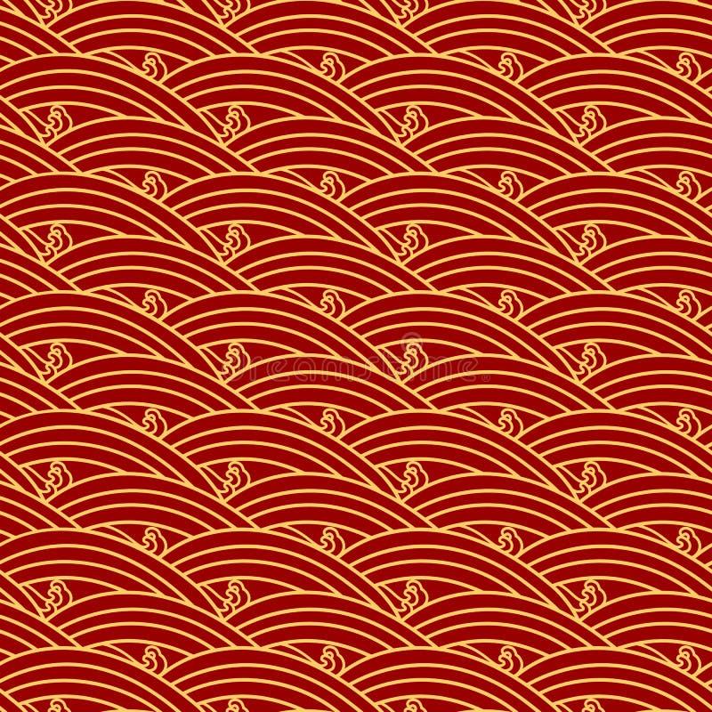 中国种族无缝的样式 东方葡萄酒背景,红色金黄海波浪 向量例证