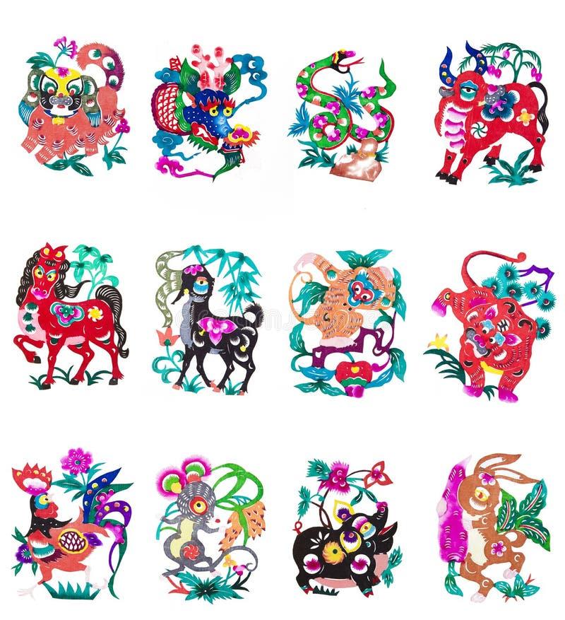中国符号黄道带 皇族释放例证
