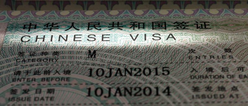 中国签证 库存照片