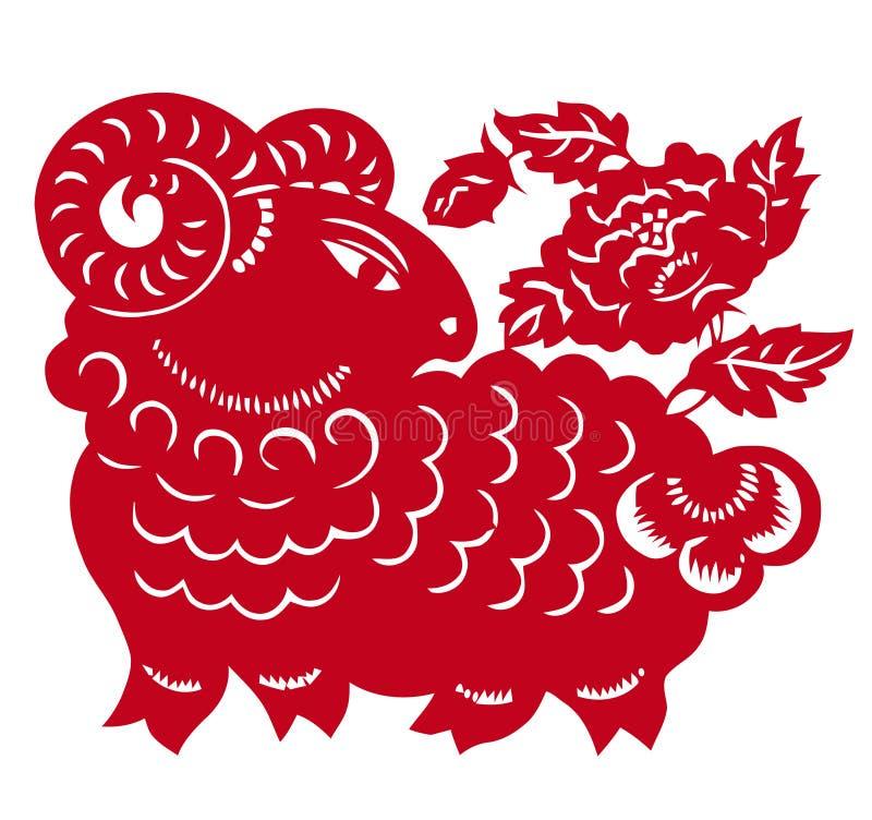 中国绵羊年黄道带 皇族释放例证