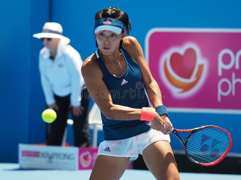 中国网球员汪强为澳网做准备在Kooyong经典陈列比赛 免版税库存图片