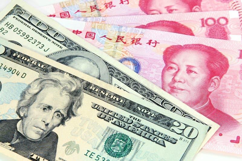 中国美元rmb我们与 库存照片