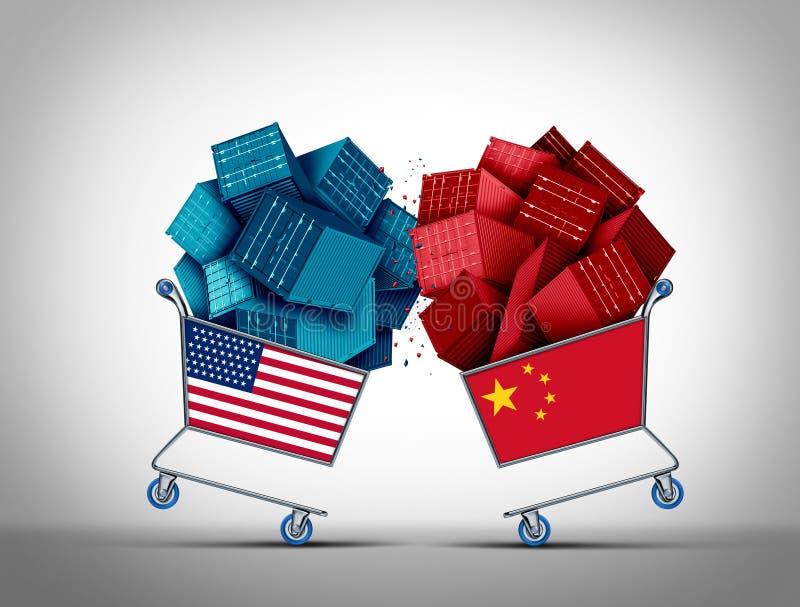 中国美国商业战斗 向量例证