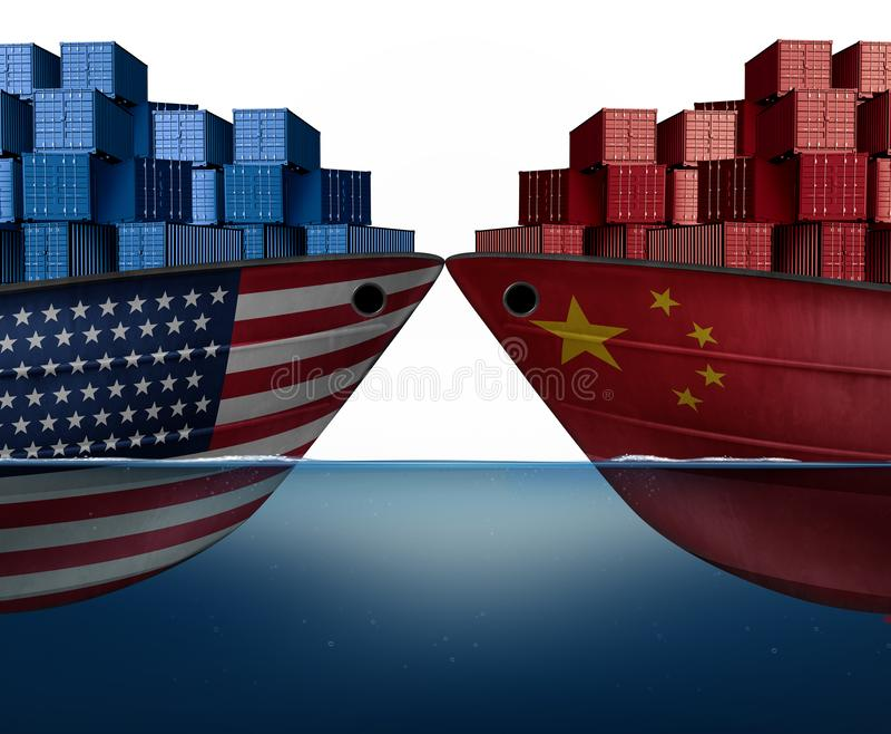 中国美国贸易战 皇族释放例证