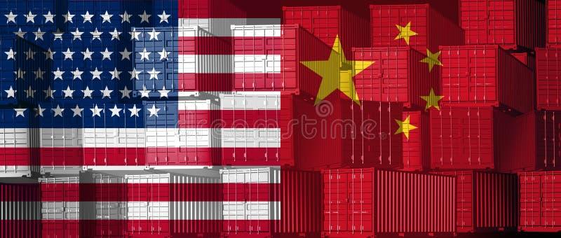 中国美国贸易 皇族释放例证