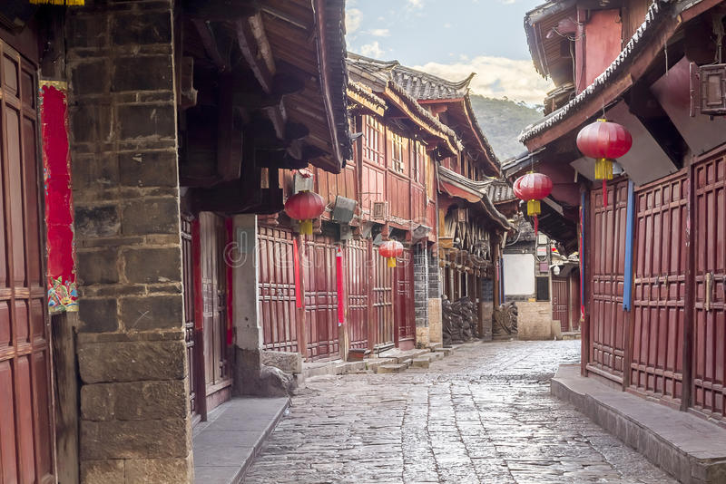中国老镇早晨,丽江云南,中国 库存照片