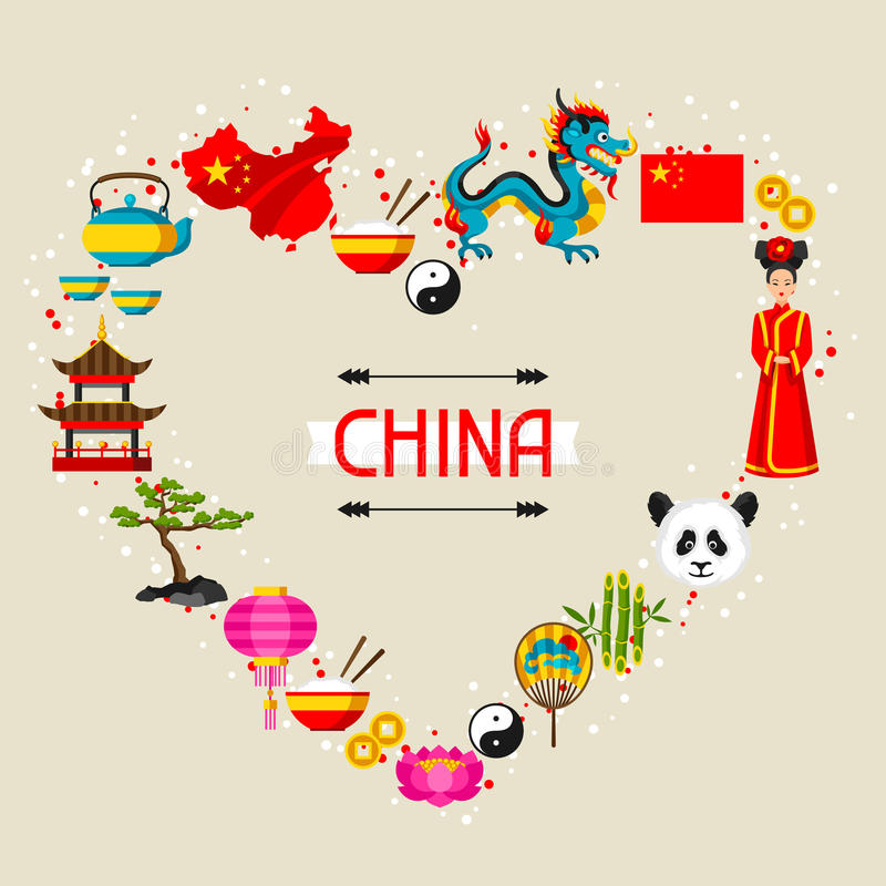 中国背景设计 中国标志和对象 库存例证