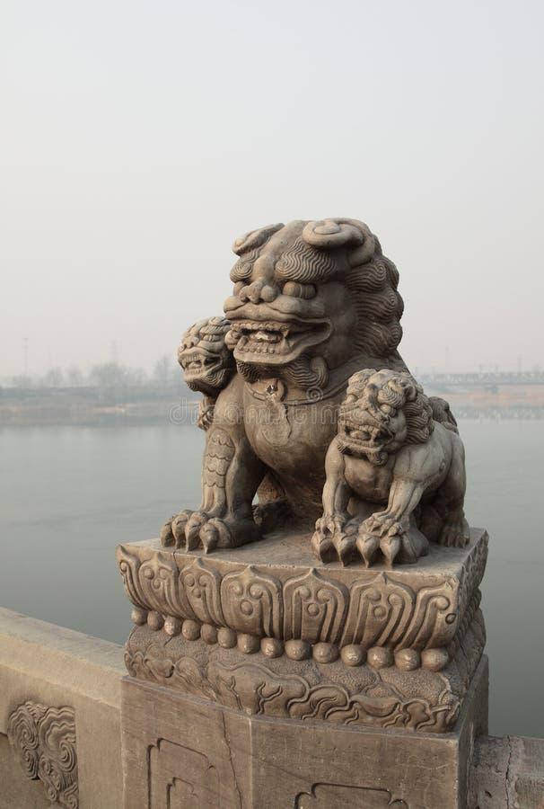 中国芦沟桥石狮 库存图片
