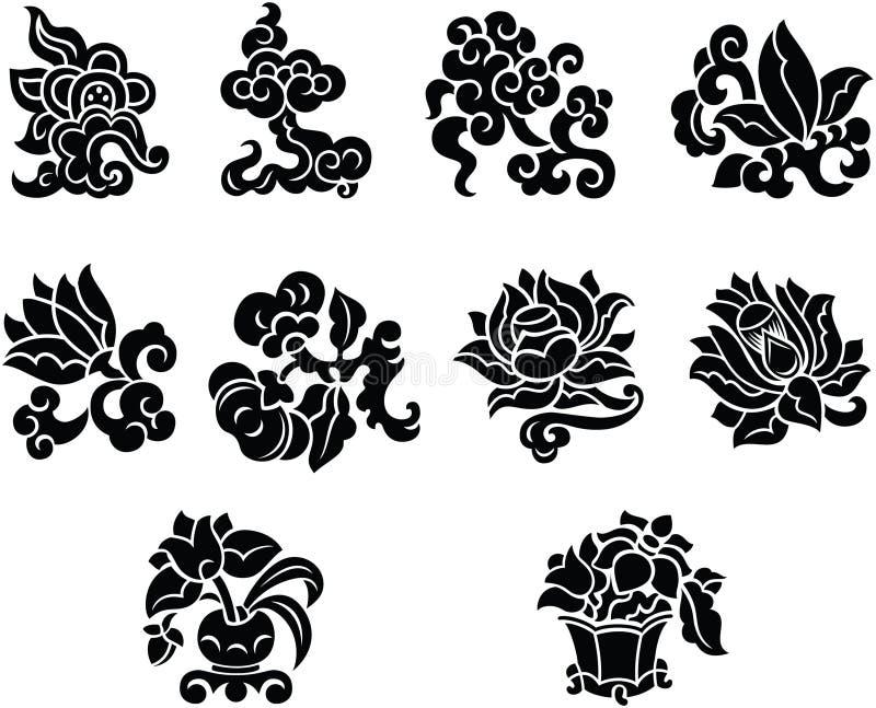 中国花卉装饰元素 皇族释放例证