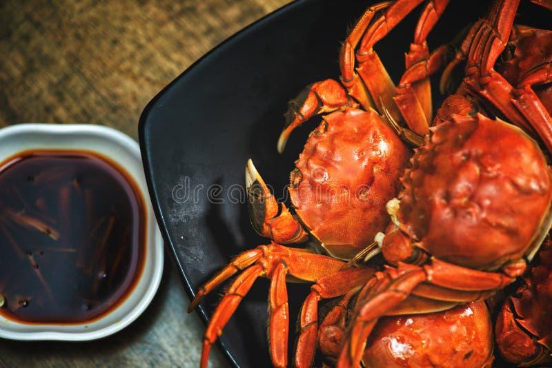 中国菜川菜螃蟹长毛的螃蟹蒸了长毛的螃蟹 免版税图库摄影