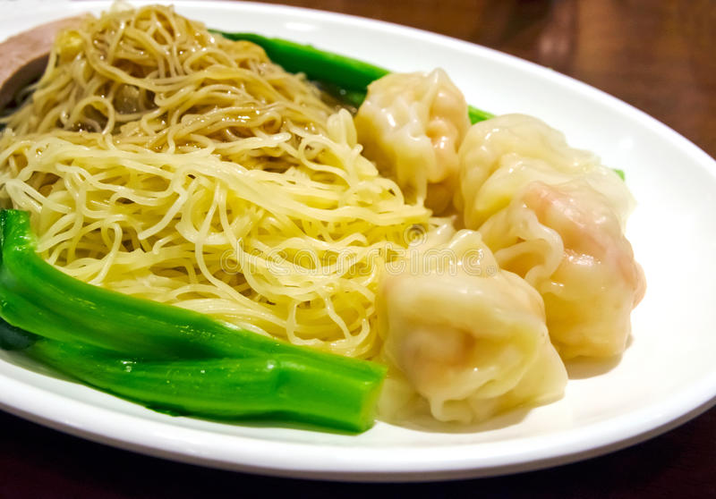中国虾饺子面条 免版税库存图片
