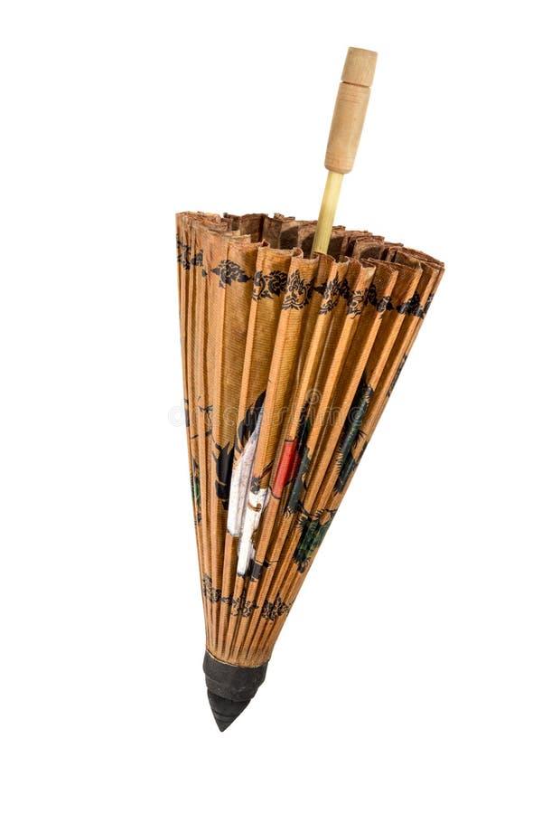 中国装饰纸伞,当折叠 免版税图库摄影