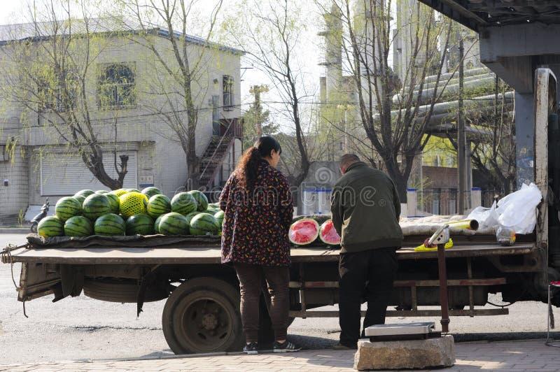 中国西瓜果子供营商 库存照片