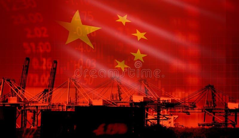 中国贸易战经济冲突税企业财务/中国股票市场交换图表图金钱危机提高了税  免版税库存照片