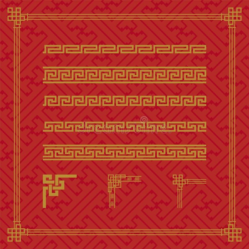 中国边界装饰品在各种各样的样式 向量例证