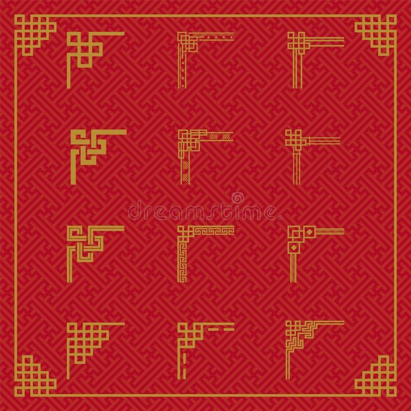 中国边界装饰品在各种各样的样式 库存例证