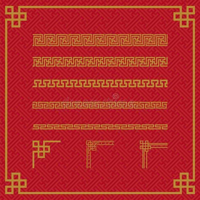 中国边界装饰品无缝的样式 向量例证
