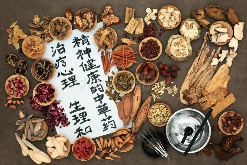 中国针灸和草本疗法 库存照片