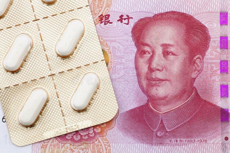 中国钞票和医学 库存图片