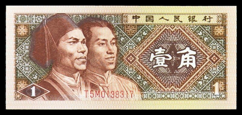 中国银行左边一角钞票、阿高山和满族成员 库存图片
