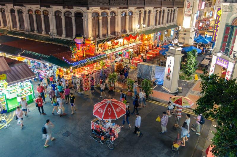 中国镇夜视图在新加坡 免版税库存图片
