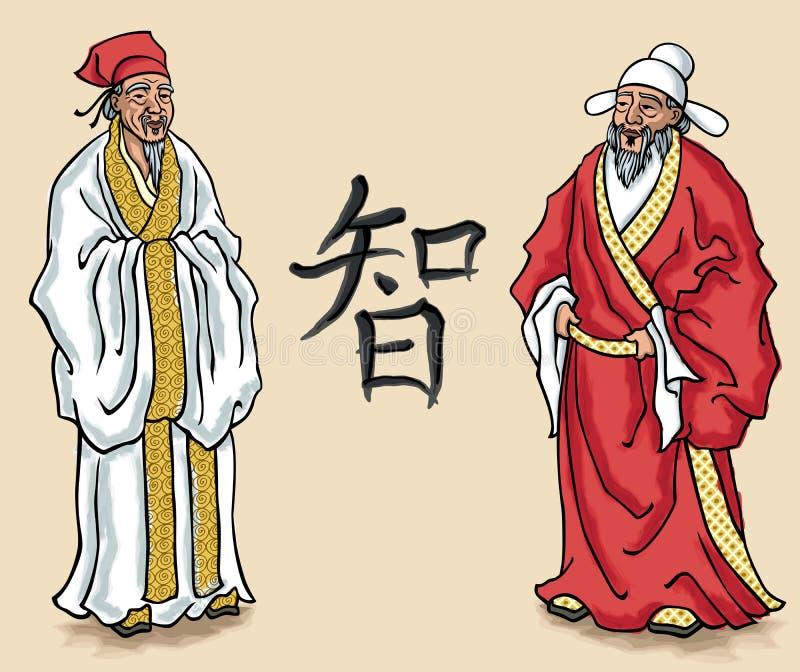 中国长辈 向量例证