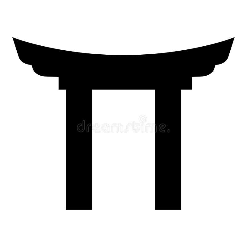 中国门象黑色彩色插图平的样式简单的图象 库存例证