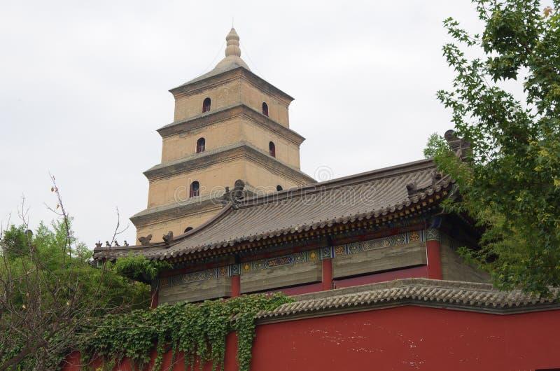 中国陕西西安狂放的鹅塔,音乐喷泉 免版税库存图片