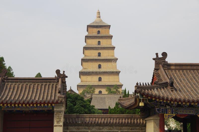 中国陕西西安狂放的鹅塔,音乐喷泉 库存图片