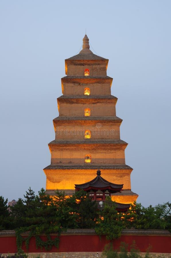 中国陕西西安狂放的鹅塔,音乐喷泉 免版税图库摄影