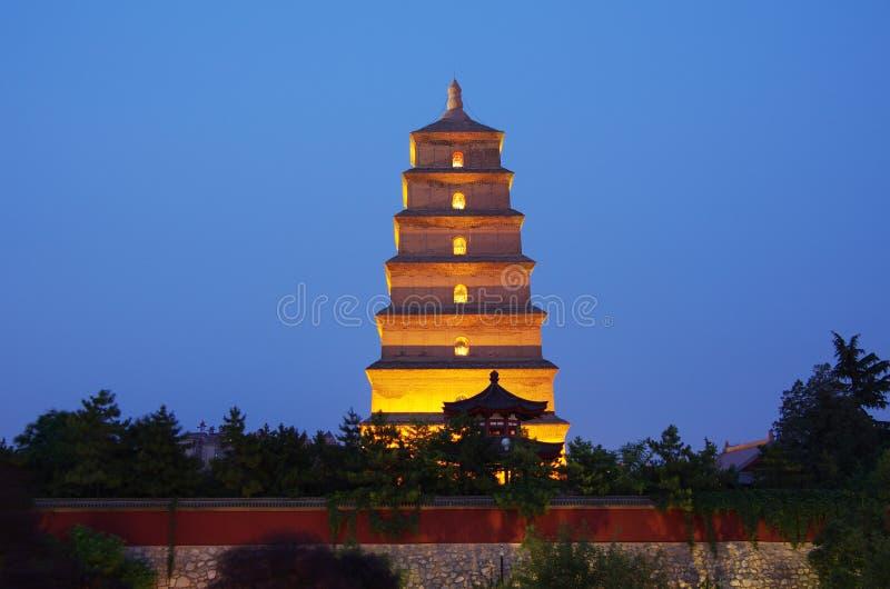 中国陕西西安狂放的鹅塔,音乐喷泉 免版税库存照片