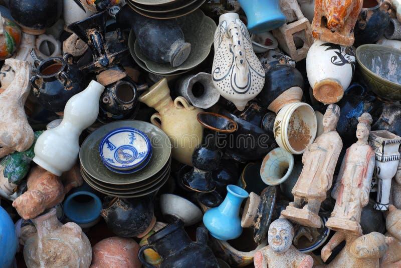 中国陶瓷和瓦器混杂 库存图片