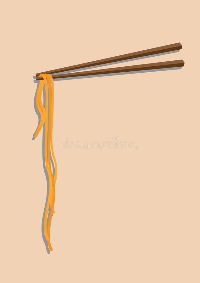 中国面条和筷子 皇族释放例证