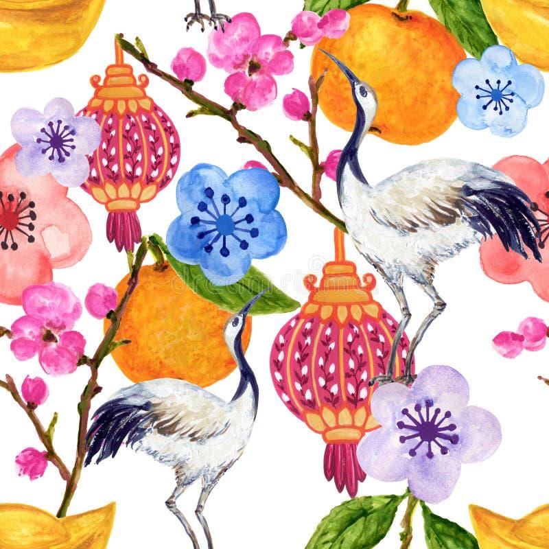 中国韩国人和日本和服启发的手拉的无缝的背景样式yukata背景背景水彩树胶水彩画颜料 皇族释放例证