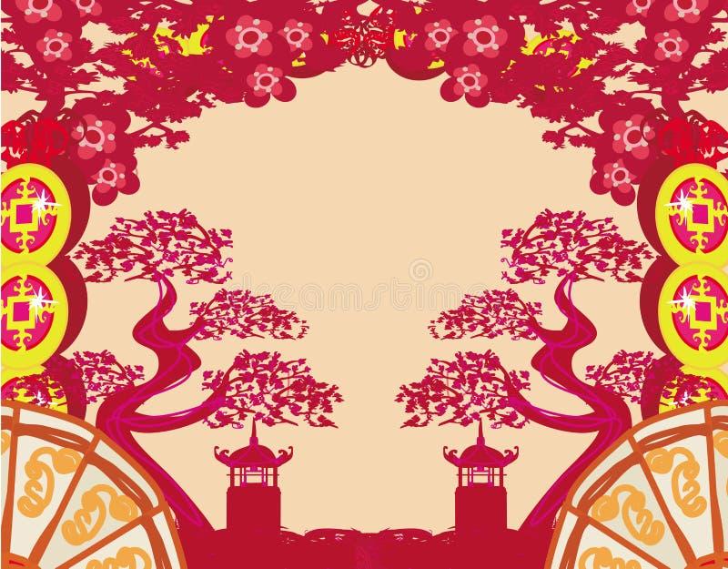 中国风景的样式 皇族释放例证