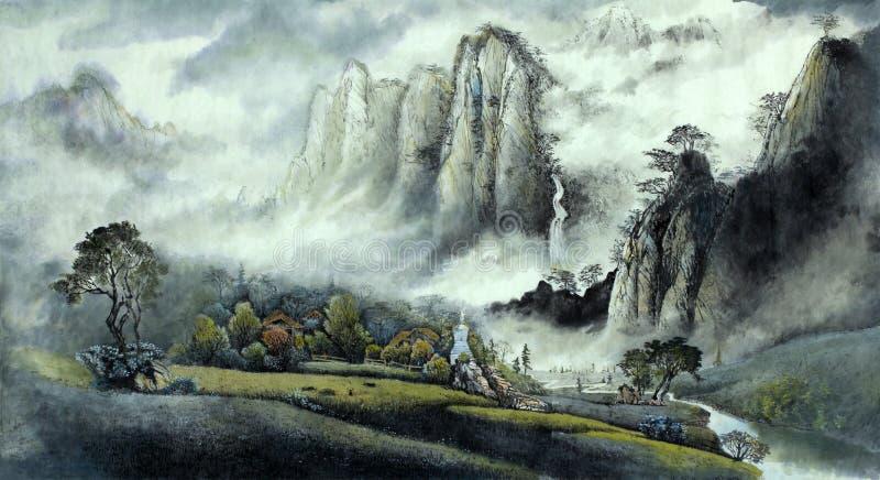 中国风景薄雾瀑布和山 向量例证