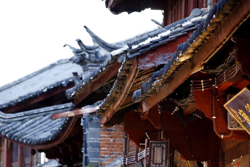 中国风格屋顶在古城丽江,云南,中国 免版税库存图片