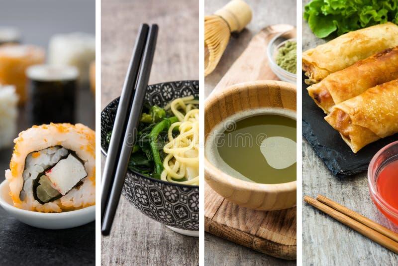 中国食物拼贴画用寿司、绿色matcha茶、馄饨汤和春卷 免版税库存照片