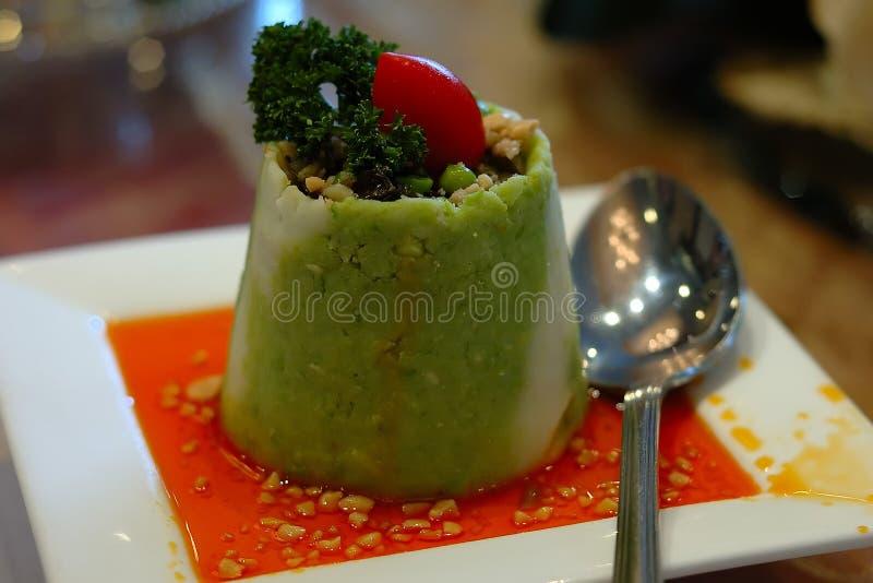 中国食物绿色豆腐 免版税库存照片