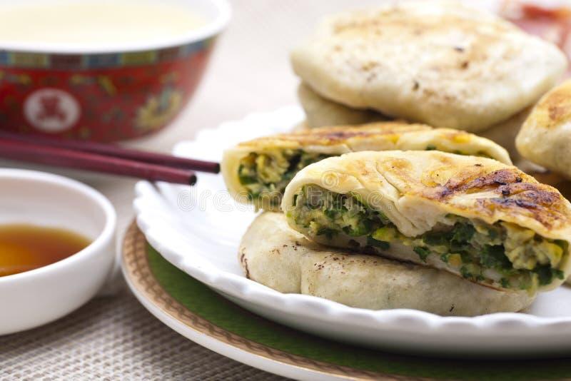 中国食物韭葱饼 图库摄影